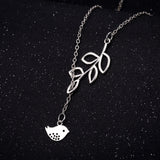 925 sterling silver plated Branch and Bird necklace with chain included - Cardina Jewels - 3