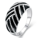 925 Sterling Silver filled Ladies ring with black detail work - Cardina Jewels - 1
