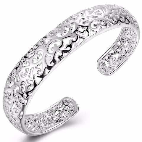 925 Sterling silver filled Filigree cuff bangle - Cardina Jewels - 1