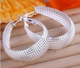 925 Sterling silver filled chunky ladies oval Hoops 12mm wide - Cardina Jewels - 4
