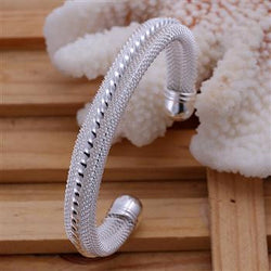 925 Sterling silver filled Twist double linked Bangle - Cardina Jewels
