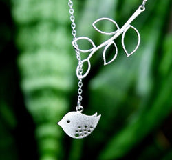925 sterling silver plated Branch and Bird necklace with chain included - Cardina Jewels - 1