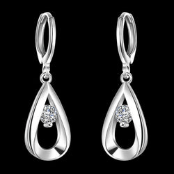 925 Sterling silver filled ladies dangle earrings with crystal detail - Cardina Jewels - 1