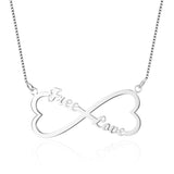 Name Necklace, Infinity Heart with 2 names, Rose or Yellow Gold or Silver - Cardina Jewels - 1