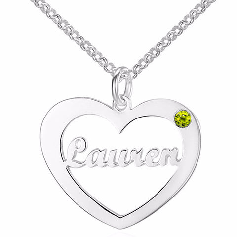 Personalized Name Necklace, Heart Design with Birthstone choice - Cardina Jewels - 1