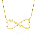 Name Necklace, Infinity Heart with 2 names, Rose or Yellow Gold or Silver - Cardina Jewels - 2