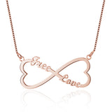 Name Necklace, Infinity Heart with 2 names, Rose or Yellow Gold or Silver - Cardina Jewels - 3
