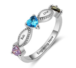 Ladies heart birthstone Personalized ring