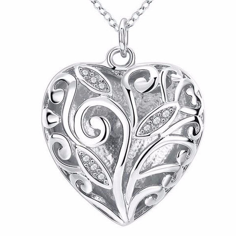 925 Sterling Silver Filled Ladies Heart pendant and free chain - Cardina Jewels - 1