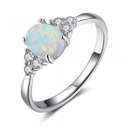 Opal Ring with Crystal Accents