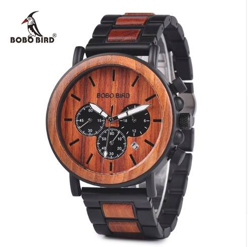 BOBO BIRD Wooden & Stainless Steel Chronograph Military  Men Watch