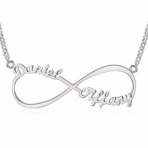 Personalized Name Necklace, Infinity design with 2 names