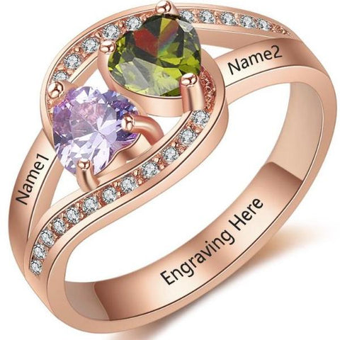 Personalized Ring with 18K RGP in rose gold plus choice of heart birthstones
