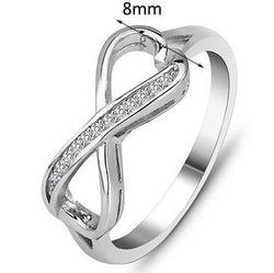 Solid Sterling Silver Large Infinity Ring with crystal detail