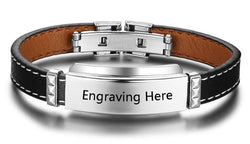 Men's engravable stainless steel bacelets