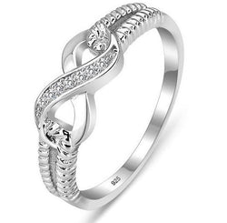 Solid Sterling Silver Infinity Ring with crystal detail