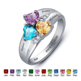 Personalized Solid Silver Ring, Chunky 3 name design with Choice of Birthstones color - Cardina Jewels - 3