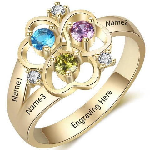Personalized Ring with 18K RGP in yellow gold plus choice of 3 birthstones