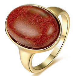 18K RGP in yellow gold, Ladies Chunky Sandstone ring - Cardina Jewels - 1