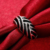925 Sterling Silver filled Ladies ring with black detail work - Cardina Jewels - 4