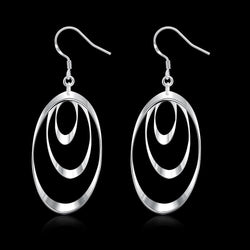 925 Sterling Silver filled Ladies 3 tier design dangle earrings - Cardina Jewels - 1