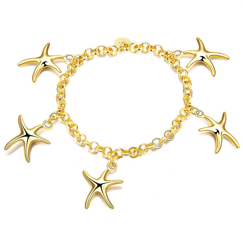 18K RGP in Yellow gold, ladies starfish design charm bracelet - Cardina Jewels - 1