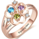 Personalized Ring with 18K RGP in rose gold plus choice of 3 birthstones