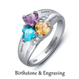 Personalized Solid Silver Ring, Chunky 3 name design with Choice of Birthstones color - Cardina Jewels - 4