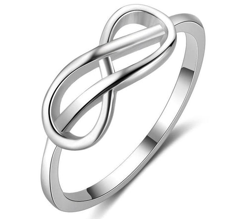Solid Sterling Silver Double Knot Infinity Ring