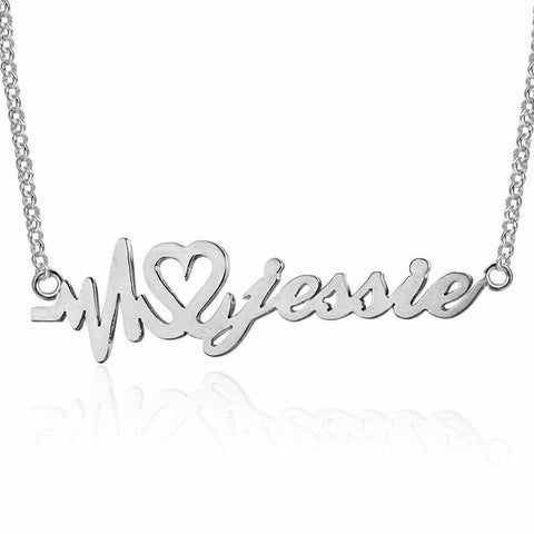 Personalized Name Necklace, heartbeat life design