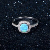 Blue Opal Ring with Crystal Detail