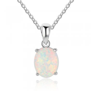 Oval Opal Pendant with Chain
