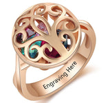 Personalized Locket Ring with 18K RGP in rose gold plus choice of 6 birthstones