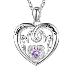 Personalized Birthstone Mom Heart Necklace