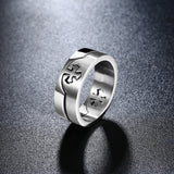New titanium steel, Interlinked Cross Ring - Cardina Jewels - 5