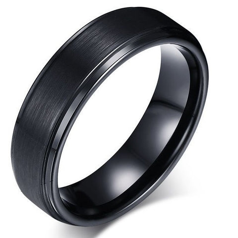 Men's Black Tungsten Carbide Ring with Groove detail - Cardina Jewels - 1