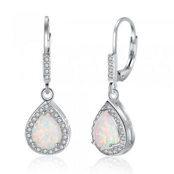 White Opal Drop Earrings with Crystal Detail