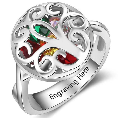 Personalized Locket Ring in solid 925 Sterling Silver plus choice of 6 birthstones