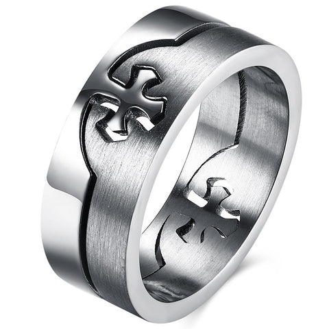 New titanium steel, Interlinked Cross Ring - Cardina Jewels - 1