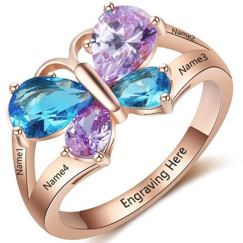 Personalized Butterfly Ring with 18K RGP in rose gold plus choice of 4 birthstones