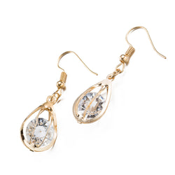 Ladies oval design fashion earrings, Gold color - Cardina Jewels - 1