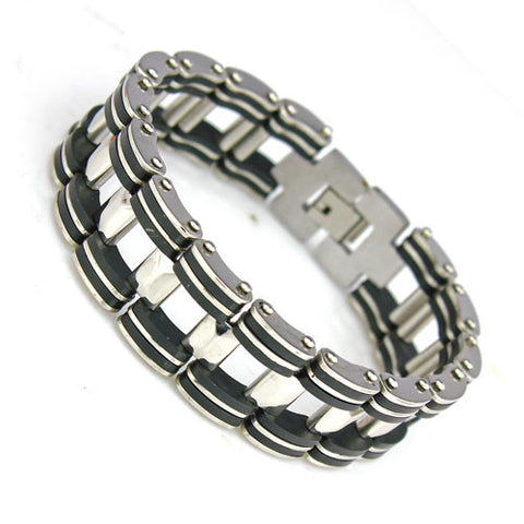 Genuine 17mm chunky men's Stainless steel and silicon bracelet - Cardina Jewels - 1