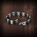 Genuine Stainless steel and silicon men's bracelet - Cardina Jewels - 3