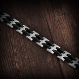 Genuine Stainless steel and silicon men's bracelet - Cardina Jewels - 4