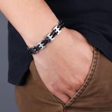 Genuine Stainless steel and silicon men's bracelet - Cardina Jewels - 5
