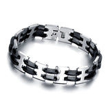 Genuine Stainless steel and silicon men's bracelet - Cardina Jewels - 1