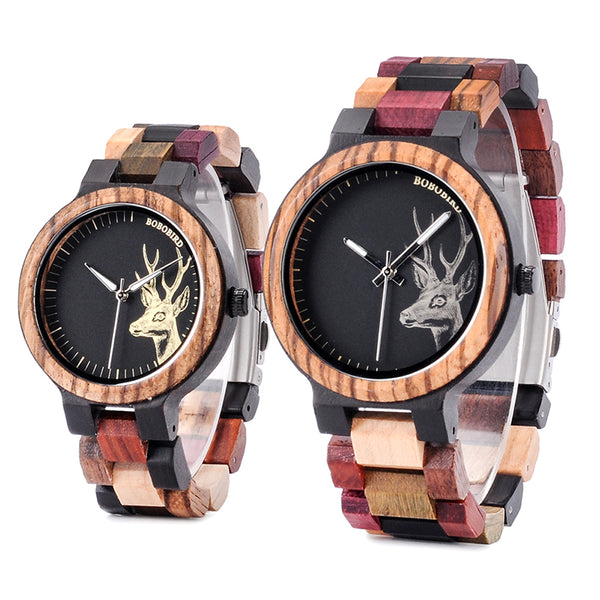 BOBO BIRD Wooden Elk Dial Quartz Watch for Men and Women