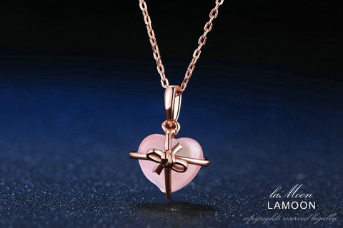 LAMOON Natural Rose Quartz Necklace in 925 Sterling Silver and Rose Gold Plated