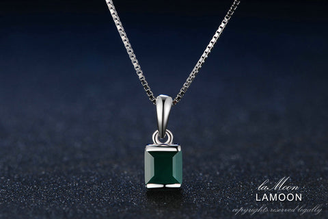 LAMOON Natural Square Green Chalcedony 925 Sterling Silver Simple Chain Pendant Necklace