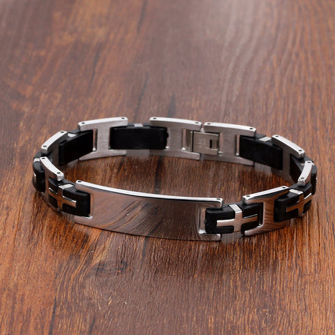 37c483a03ec2b Men's Engraved Personalized Stainless Steel Bracelet